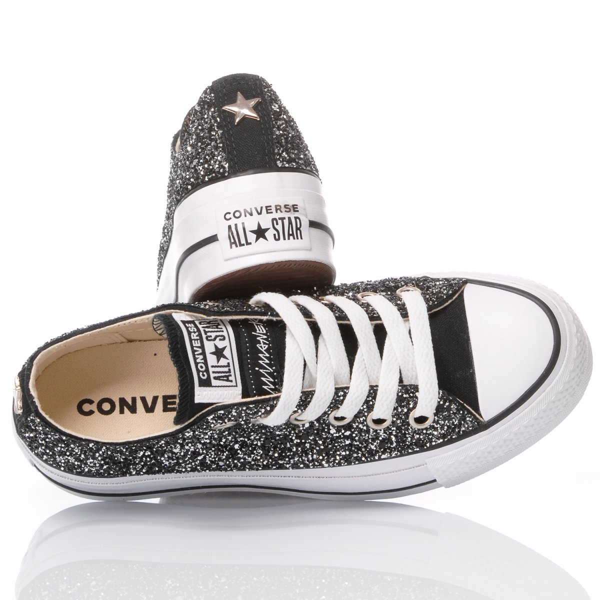 converse platform glitter nero