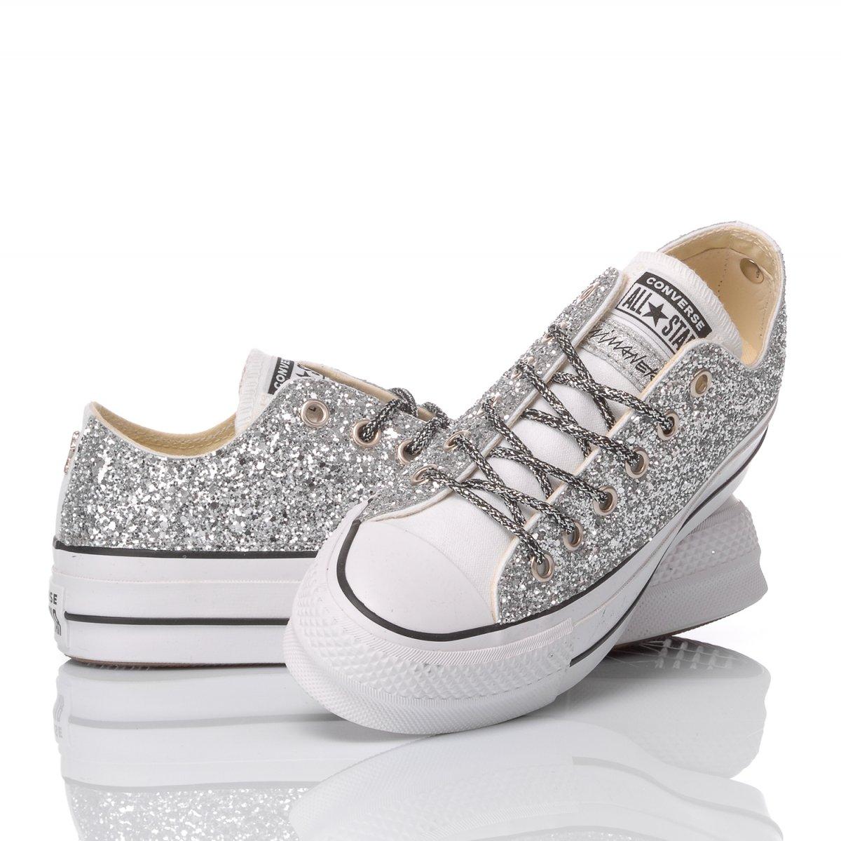 converse platform argento glitter