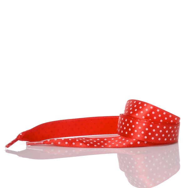 Red Satin Polka Dot Laces 110 cm